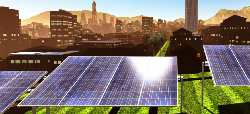 A panoramic view of Solar power panels in the city