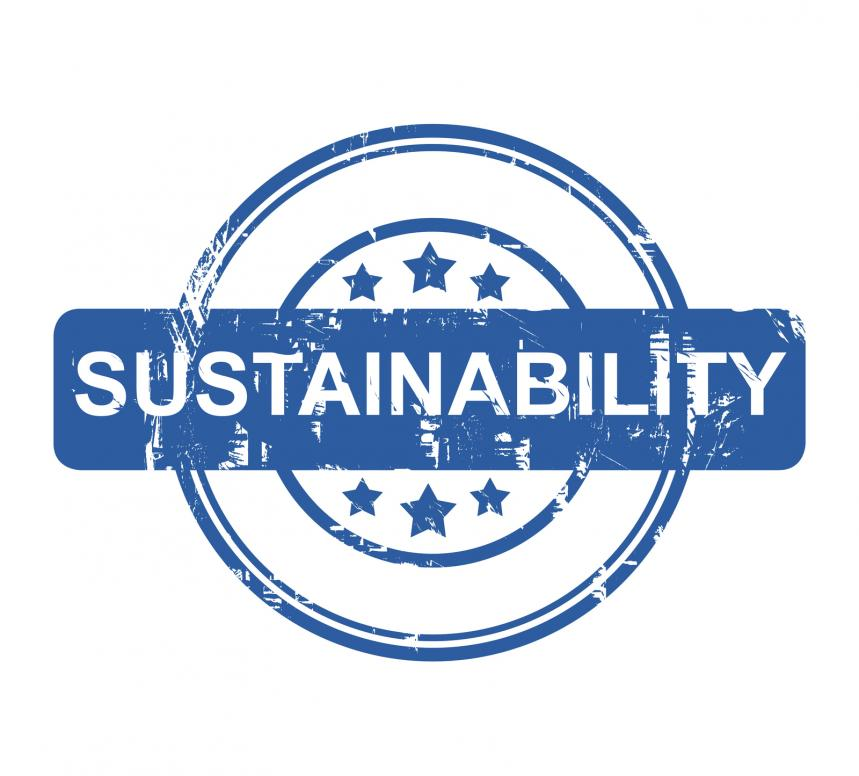 A sustainability business stamp isolated on white background