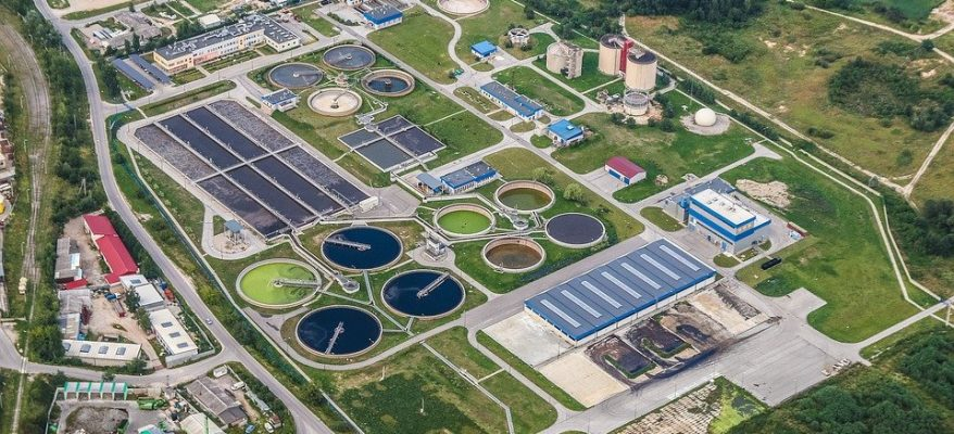 An aerial view of a wastewater treatment plant