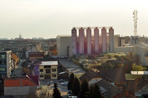A city industrial area with a factory plant.