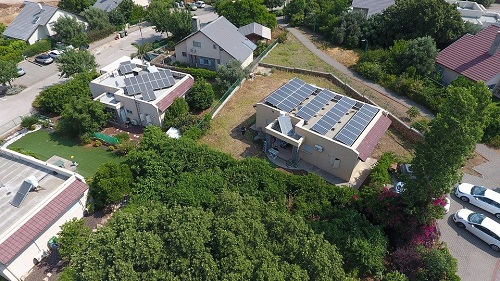 An aerial view of a climate-smart community with a solar farm shared by multiple users as members